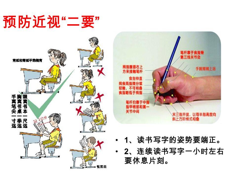 预防近视 二要 1 、读书写字的姿势要端正。 2 、连续读书写字一小时左右 要休息片刻。