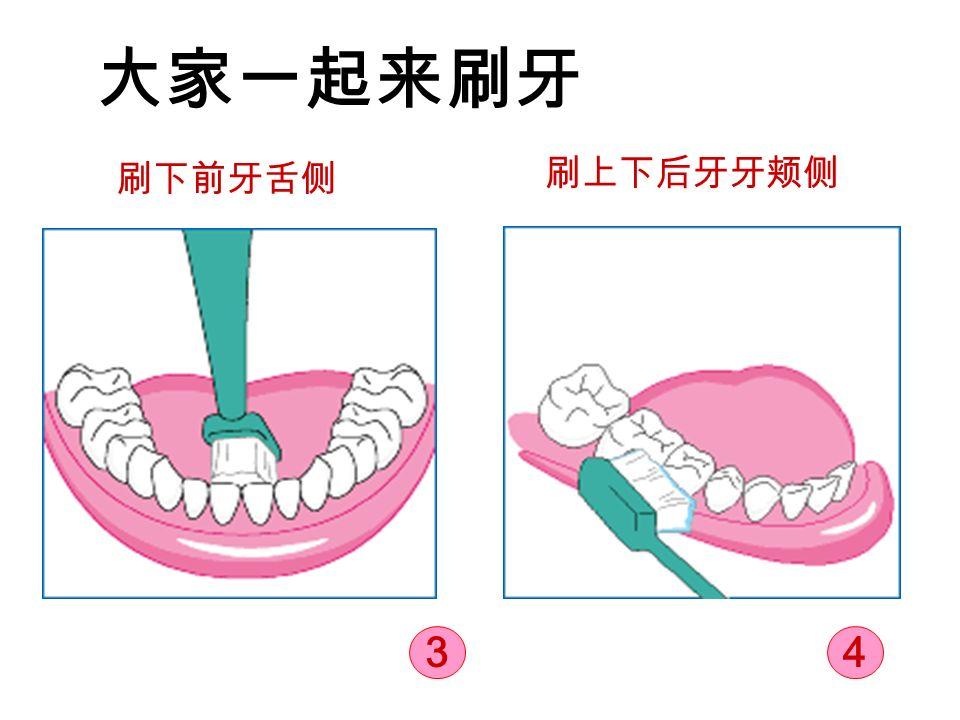大家一起来刷牙 刷下前牙舌侧 刷上下后牙牙颊侧 43