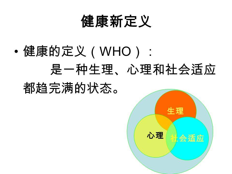 健康新定义 健康的定义( WHO ): 是一种生理、心理和社会适应 都趋完满的状态。 生理 社会适应 心理