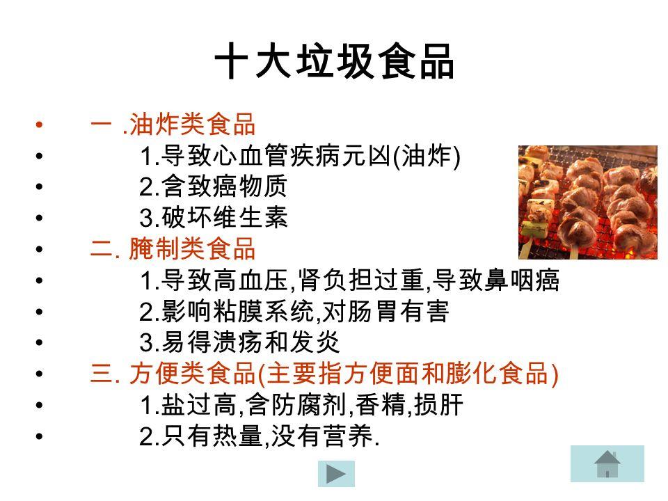十大垃圾食品 一. 油炸类食品 1. 导致心血管疾病元凶 ( 油炸 ) 2. 含致癌物质 3.