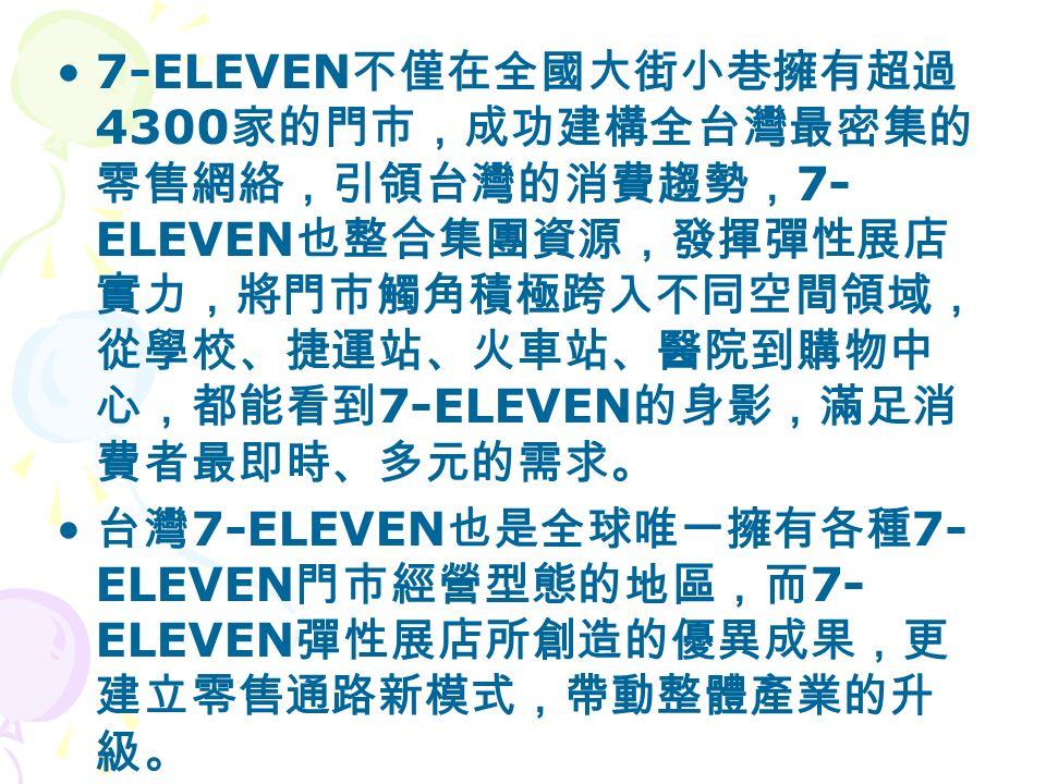 7-ELEVEN 不僅在全國大街小巷擁有超過 4300 家的門市,成功建構全台灣最密集的 零售網絡,引領台灣的消費趨勢, 7- ELEVEN 也整合集團資源,發揮彈性展店 實力,將門市觸角積極跨入不同空間領域, 從學校、捷運站、火車站、醫院到購物中 心,都能看到 7-ELEVEN 的身影,滿足消 費者最即時、多元的需求。 台灣 7-ELEVEN 也是全球唯一擁有各種 7- ELEVEN 門市經營型態的地區,而 7- ELEVEN 彈性展店所創造的優異成果,更 建立零售通路新模式,帶動整體產業的升 級。
