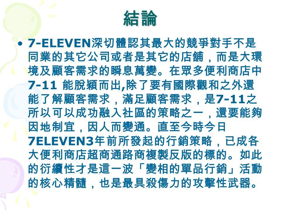 結論 7-ELEVEN 深切體認其最大的競爭對手不是 同業的其它公司或者是其它的店舖,而是大環 境及顧客需求的瞬息萬變。在眾多便利商店中 7-11 能脫穎而出, 除了要有國際觀和之外還 能了解顧客需求,滿足顧客需求,是 7-11 之 所以可以成功融入社區的策略之一,還要能夠 因地制宜,因人而變通。直至今時今日 7ELEVEN3 年前所發起的行銷策略,已成各 大便利商店超商通路商複製反版的標的。如此 的衍續性才是這一波「變相的單品行銷」活動 的核心精髓,也是最具殺傷力的攻擊性武器。