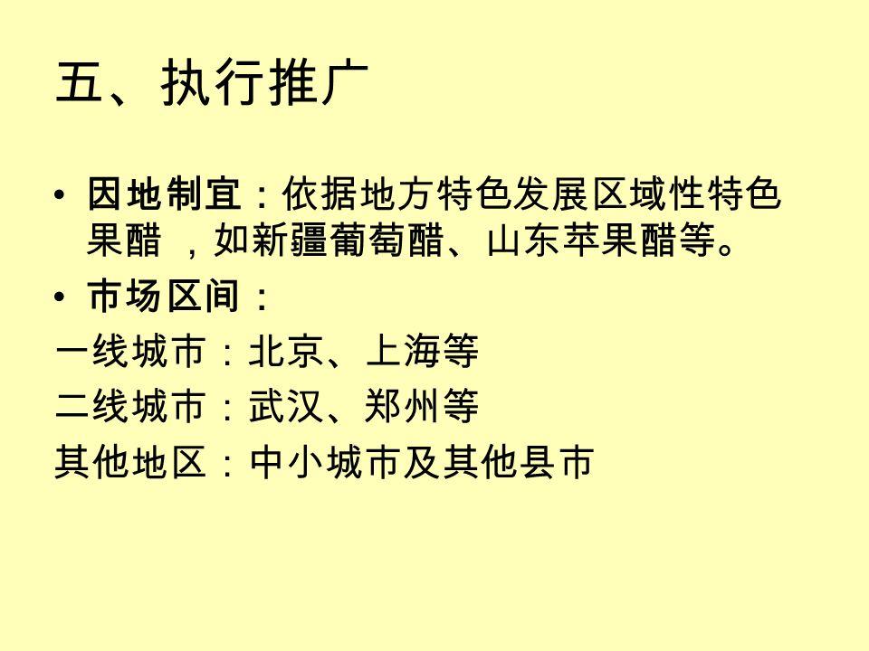 五、执行推广 因地制宜:依据地方特色发展区域性特色 果醋 ,如新疆葡萄醋、山东苹果醋等。 市场区间: 一线城市:北京、上海等 二线城市:武汉、郑州等 其他地区:中小城市及其他县市