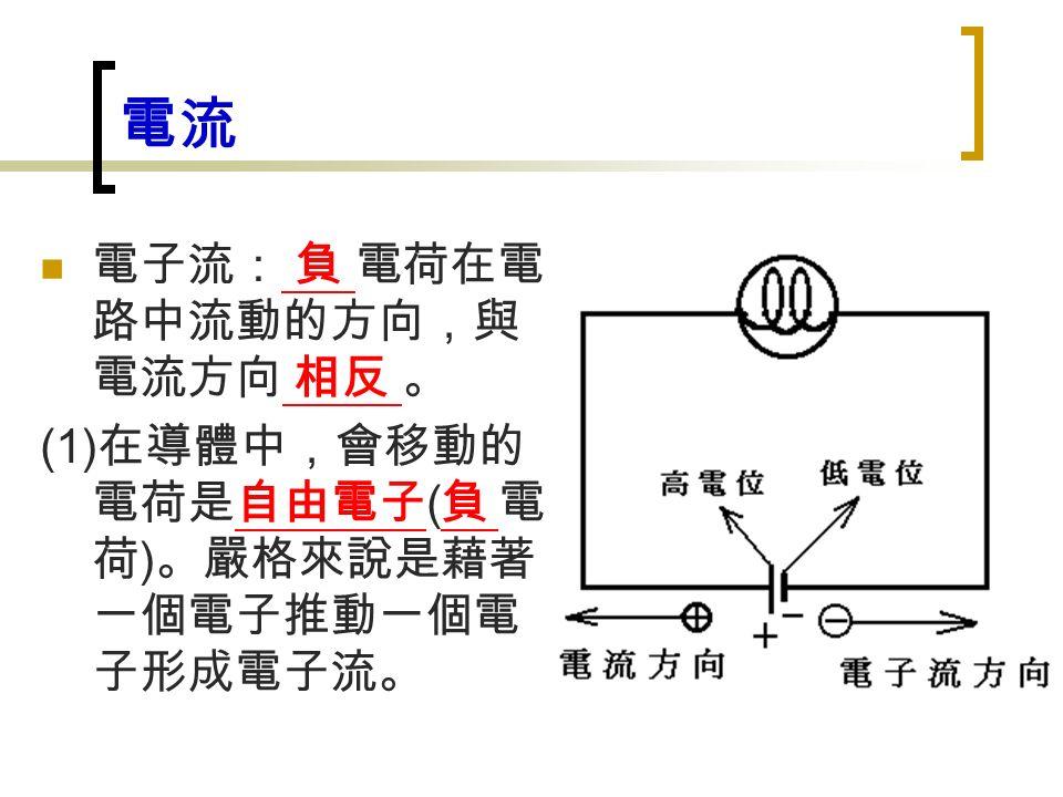 電流 電子流: 負 電荷在電 路中流動的方向,與 電流方向 相反 。 (1) 在導體中,會移動的 電荷是自由電子 ( 負 電 荷 ) 。嚴格來說是藉著 一個電子推動一個電 子形成電子流。