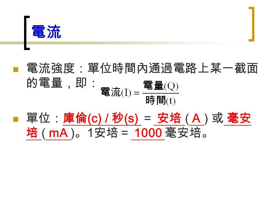 電流 電流強度:單位時間內通過電路上某一截面 的電量,即: 單位:庫倫 (c) / 秒 (s) = 安培 ( A ) 或 毫安 培 ( mA ) 。 1 安培= 1000 毫安培。