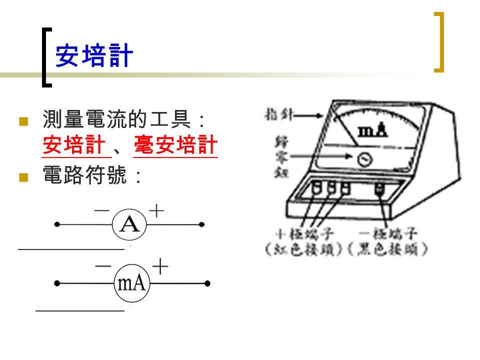 安培計 測量電流的工具: 安培計 、毫安培計 電路符號: 、 。