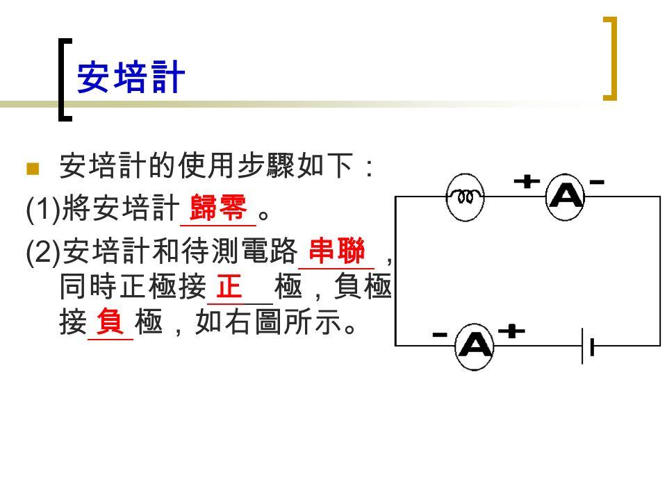 安培計 安培計的使用步驟如下: (1) 將安培計 歸零 。 (2) 安培計和待測電路 串聯 , 同時正極接 正 極,負極 接 負 極,如右圖所示。