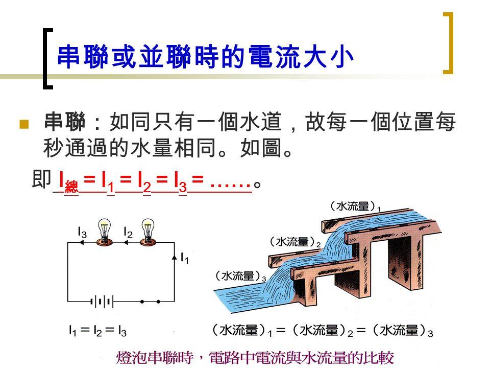串聯或並聯時的電流大小 串聯:如同只有一個水道,故每一個位置每 秒通過的水量相同。如圖。 即 I 總 = I 1 = I 2 = I 3 = …… 。