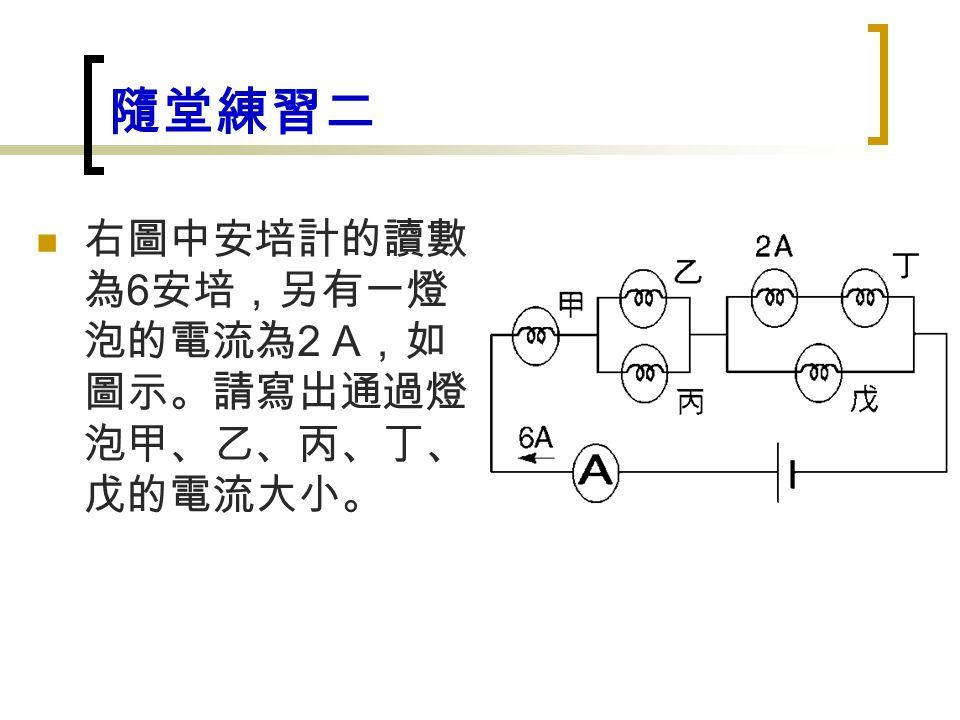隨堂練習二 右圖中安培計的讀數 為 6 安培,另有一燈 泡的電流為 2 A ,如 圖示。請寫出通過燈 泡甲、乙、丙、丁、 戊的電流大小。