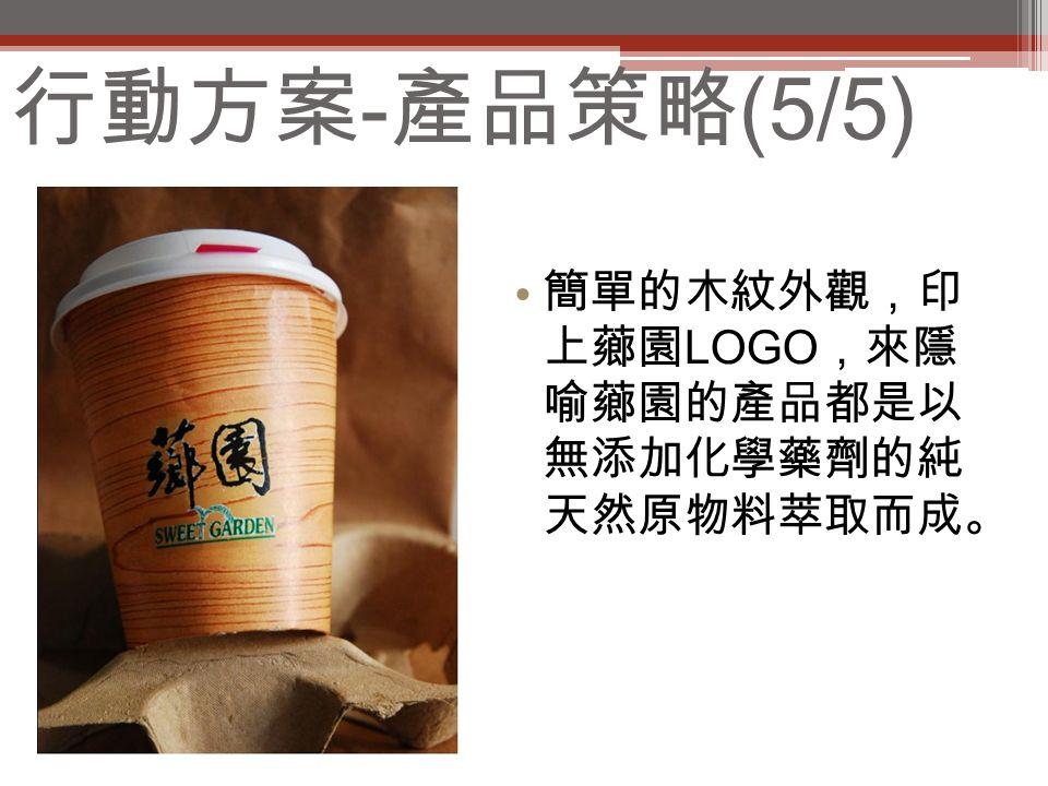 行動方案 - 產品策略 (5/5) 簡單的木紋外觀,印 上薌園 LOGO ,來隱 喻薌園的產品都是以 無添加化學藥劑的純 天然原物料萃取而成。