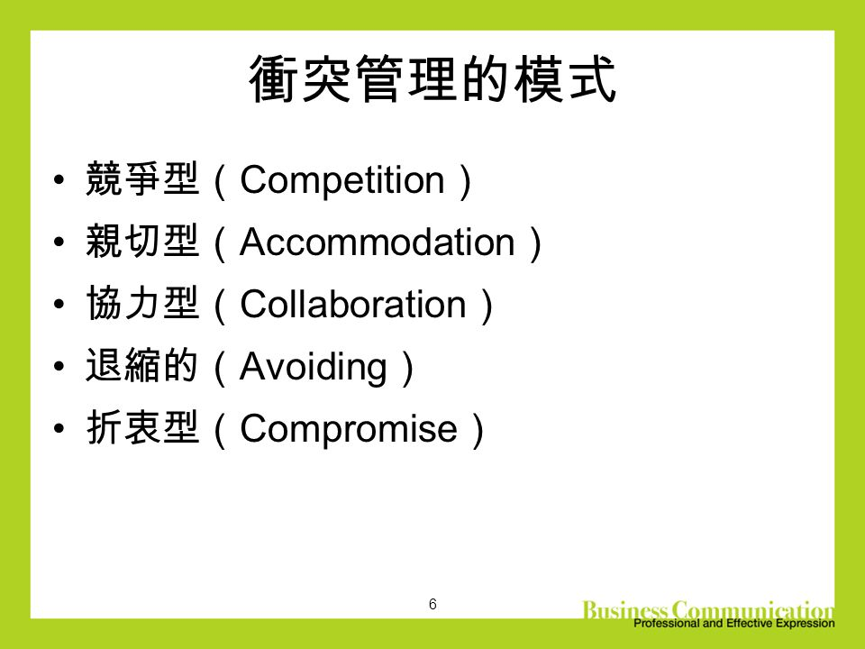 6 衝突管理的模式 競爭型( Competition ) 親切型( Accommodation ) 協力型( Collaboration ) 退縮的( Avoiding ) 折衷型( Compromise )