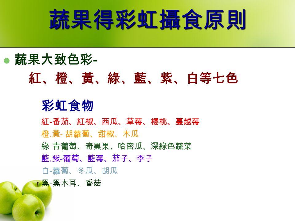 蔬果得彩虹攝食原則 蔬果大致色彩 - 紅、橙、黃、綠、藍、紫、白等七色 彩虹食物 紅 - 番茄、紅椒、西瓜、草莓、櫻桃、蔓越莓 橙.