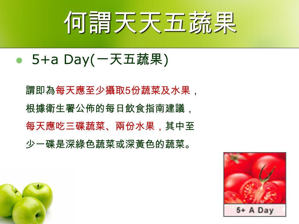 何謂天天五蔬果 5+a Day( 一天五蔬果 ) 謂即為每天應至少攝取 5 份蔬菜及水果, 根據衛生署公佈的每日飲食指南建議, 每天應吃三碟蔬菜、兩份水果,其中至 少一碟是深綠色蔬菜或深黃色的蔬菜。