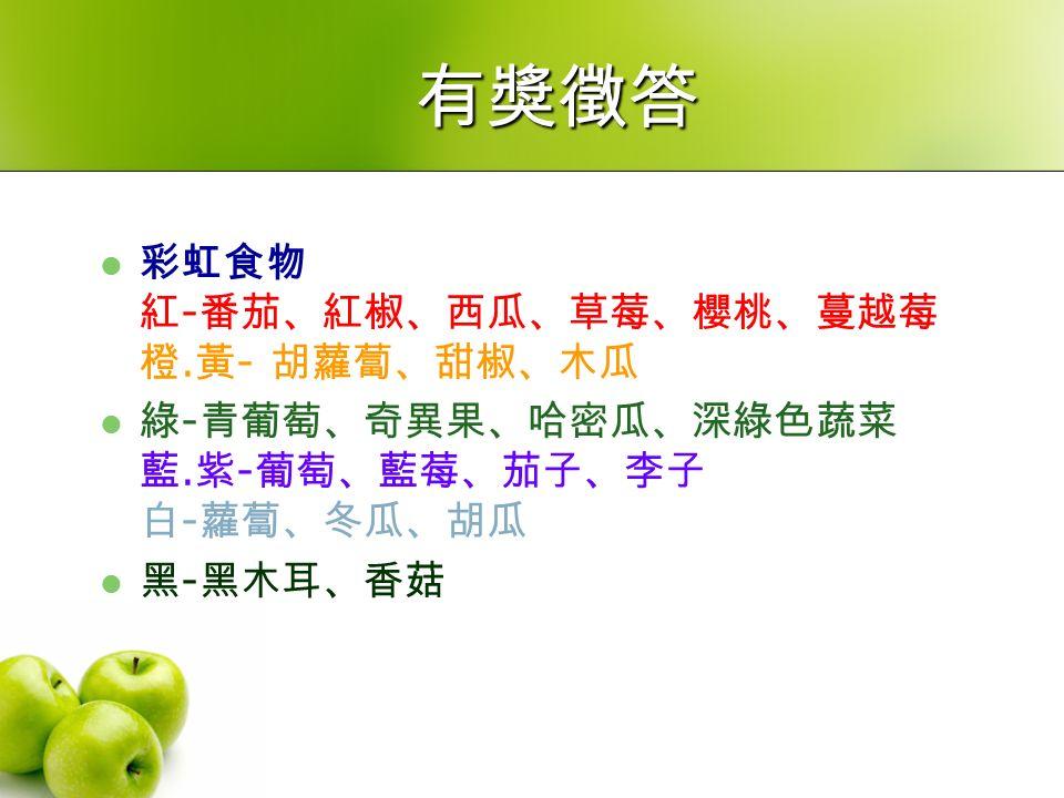 有獎徵答 彩虹食物 紅 - 番茄、紅椒、西瓜、草莓、櫻桃、蔓越莓 橙. 黃 - 胡蘿蔔、甜椒、木瓜 綠 - 青葡萄、奇異果、哈密瓜、深綠色蔬菜 藍.