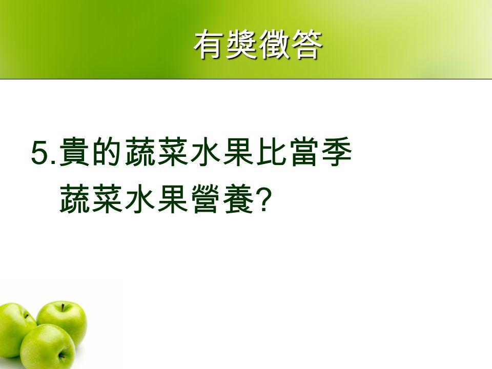 5. 貴的蔬菜水果比當季 蔬菜水果營養 有獎徵答