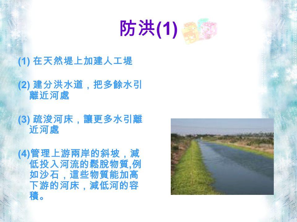 防洪 (1) (1) 在天然堤上加建人工堤 (2) 建分洪水道,把多餘水引 離近河處 (3) 疏浚河床,讓更多水引離 近河處 (4) 管理上游兩岸的斜坡,減 低投入河流的鬆脫物質, 例 如沙石,這些物質能加高 下游的河床,減低河的容 積。