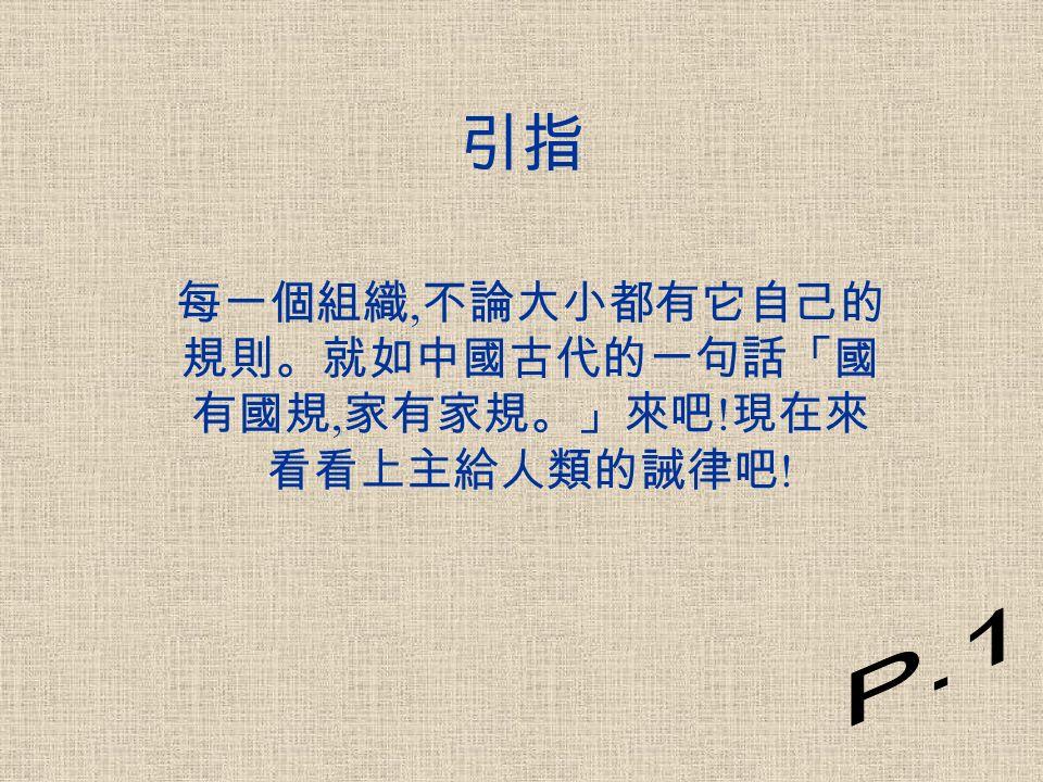 目錄 引指 ------------------------------P.1 十誡來歷 ------------------------P.2-P.3 十誡 ------------------------------P.4 十誡的意義 ---------------------P.5 日常生活上犯十誡的例子 ---P.6 -P.15 組員名單及分工表 ------------P.16 組員分享 ------------------------P.