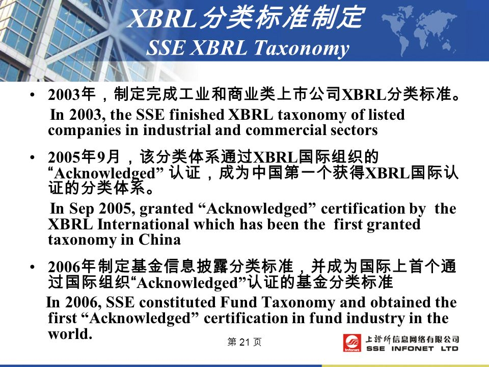 第 21 页 XBRL 分类标准制定 SSE XBRL Taxonomy 2003 年,制定完成工业和商业类上市公司 XBRL 分类标准。 In 2003, the SSE finished XBRL taxonomy of listed companies in industrial and commercial sectors 2005 年 9 月,该分类体系通过 XBRL 国际组织的 Acknowledged 认证,成为中国第一个获得 XBRL 国际认 证的分类体系。 In Sep 2005, granted Acknowledged certification by the XBRL International which has been the first granted taxonomy in China 2006 年制定基金信息披露分类标准,并成为国际上首个通 过国际组织 Acknowledged 认证的基金分类标准 In 2006, SSE constituted Fund Taxonomy and obtained the first Acknowledged certification in fund industry in the world.