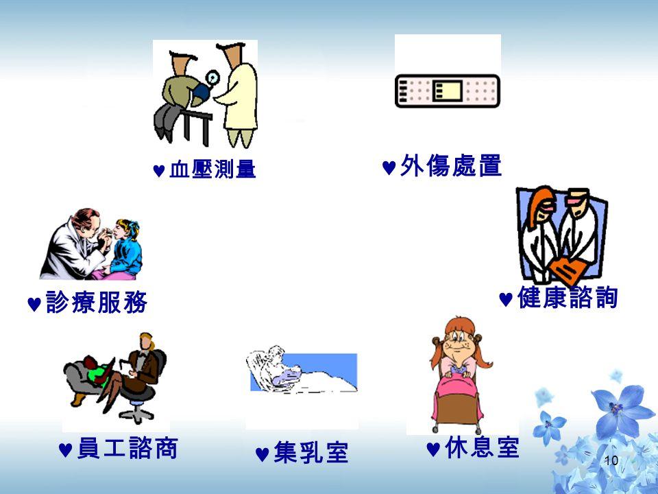 10 診療服務 外傷處置 健康諮詢 血壓測量 休息室 集乳室 員工諮商