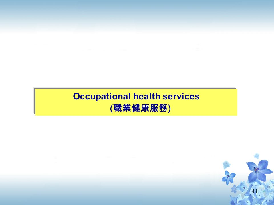 11 Occupational health services ( 職業健康服務 )
