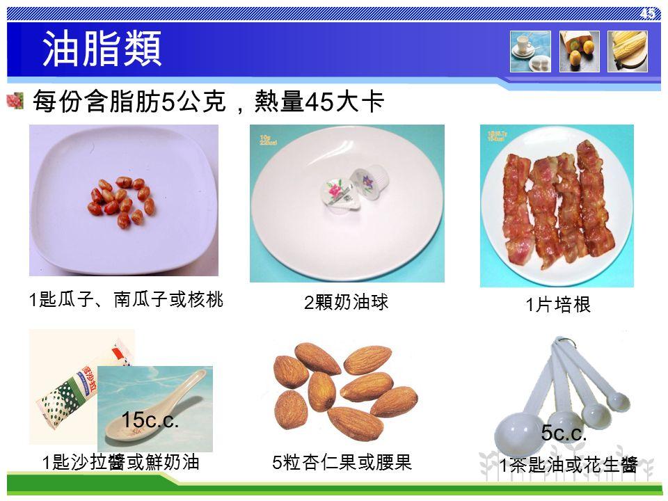 45 每份含脂肪 5 公克,熱量 45 大卡 1 片培根 2 顆奶油球 1 匙瓜子、南瓜子或核桃 5 粒杏仁果或腰果 1 匙沙拉醬或鮮奶油 1 茶匙油或花生醬 油脂類 5c.c. 15c.c.