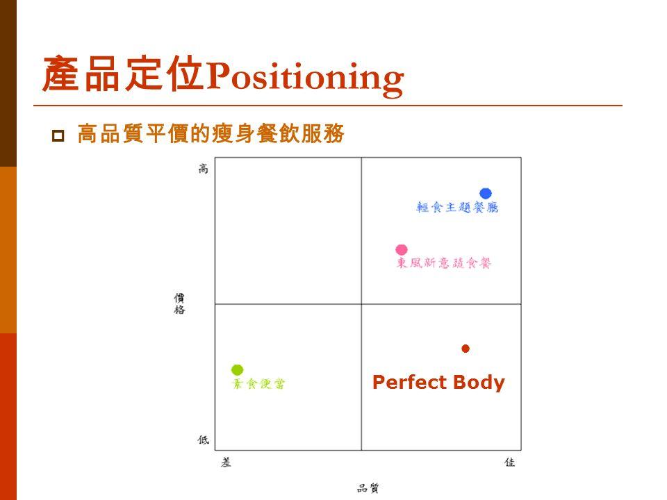 產品定位 Positioning  高品質平價的瘦身餐飲服務 ● Perfect Body