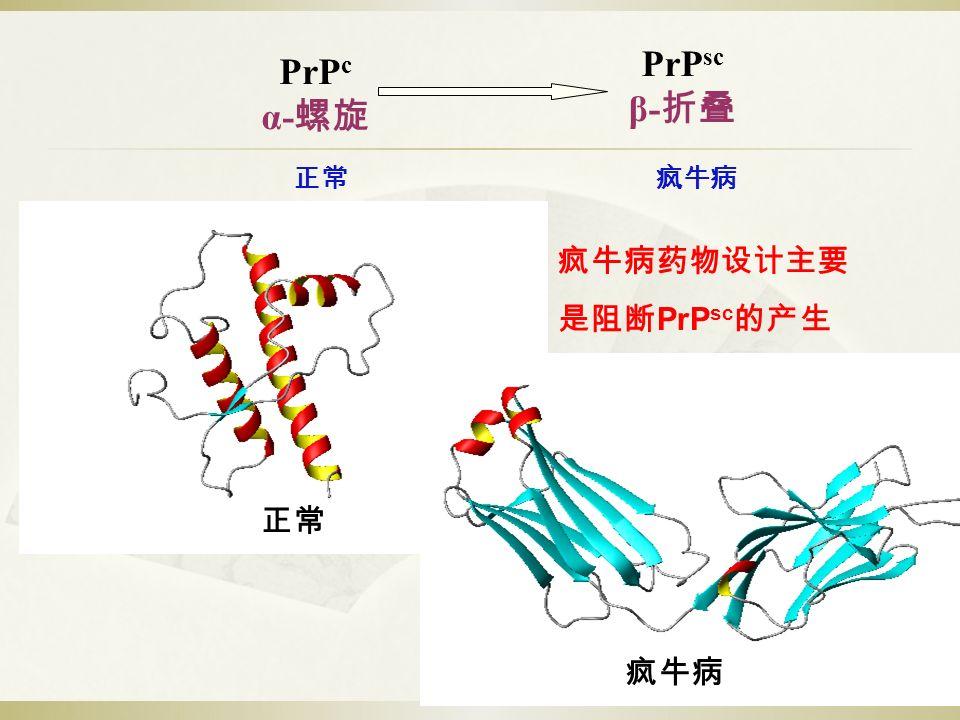 PrP c α- 螺旋 PrP sc β- 折叠 正常疯牛病 正常疯牛病 疯牛病药物设计主要 是阻断 PrP sc 的产生