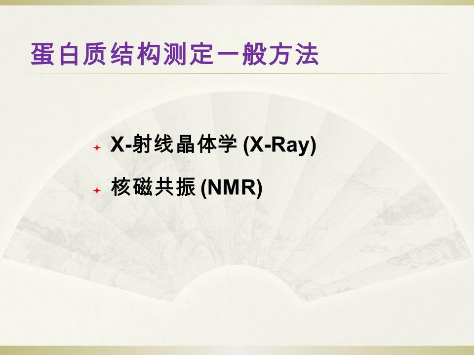 蛋白质结构测定一般方法  X- 射线晶体学 (X-Ray)  核磁共振 (NMR)
