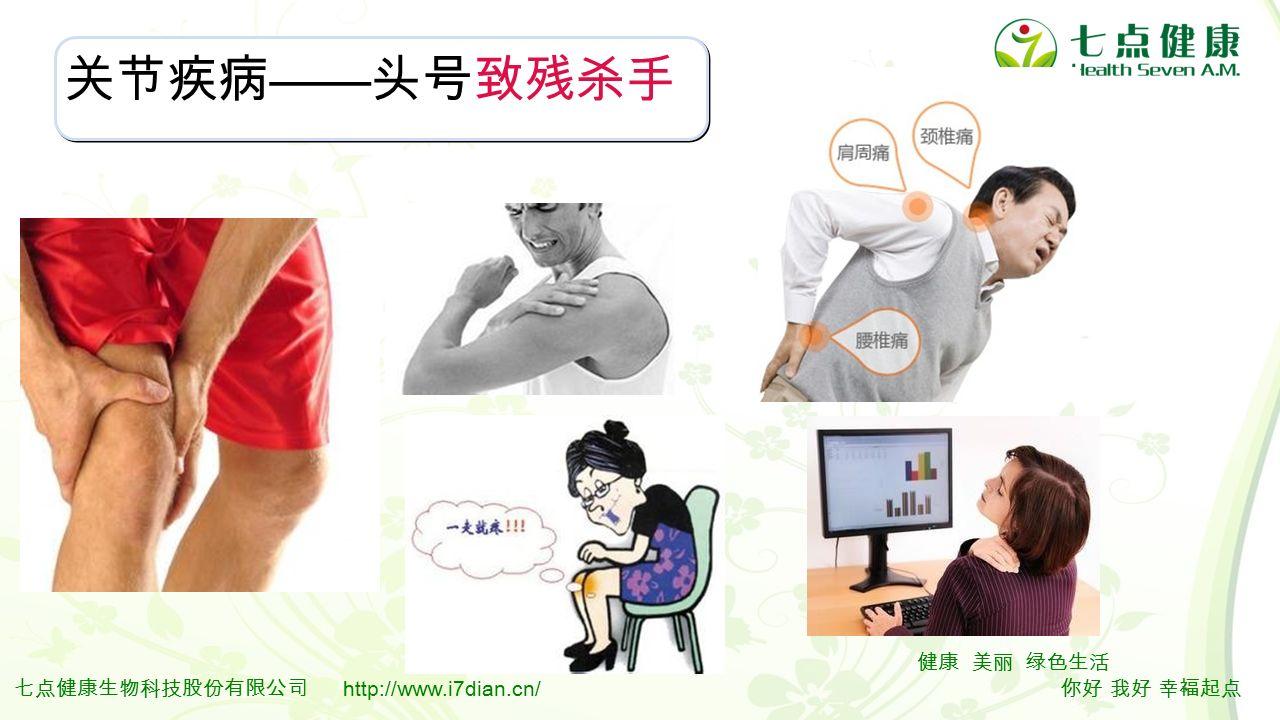 3 健康 美丽 绿色生活 你好 我好 幸福起点 七点健康生物科技股份有限公司 http://www.i7dian.cn/ 关节疾病 —— 头号致残杀手