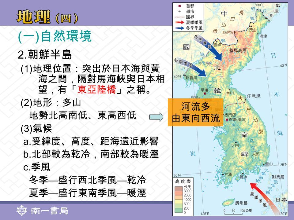 ( 一 ) 自然環境 2. 朝鮮半島 (1) 地理位置:突出於日本海與黃 海之間,隔對馬海峽與日本相 望,有「東亞陸橋」之稱。 (2) 地形:多山 地勢北高南低、東高西低 (3) 氣候 a.