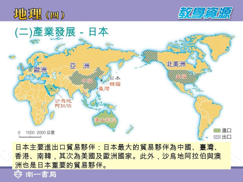 ( 二 ) 產業發展-日本 日本主要進出口貿易夥伴:日本最大的貿易夥伴為中國、臺灣、 香港、南韓,其次為美國及歐洲國家。此外,沙烏地阿拉伯與澳 洲也是日本重要的貿易夥伴。