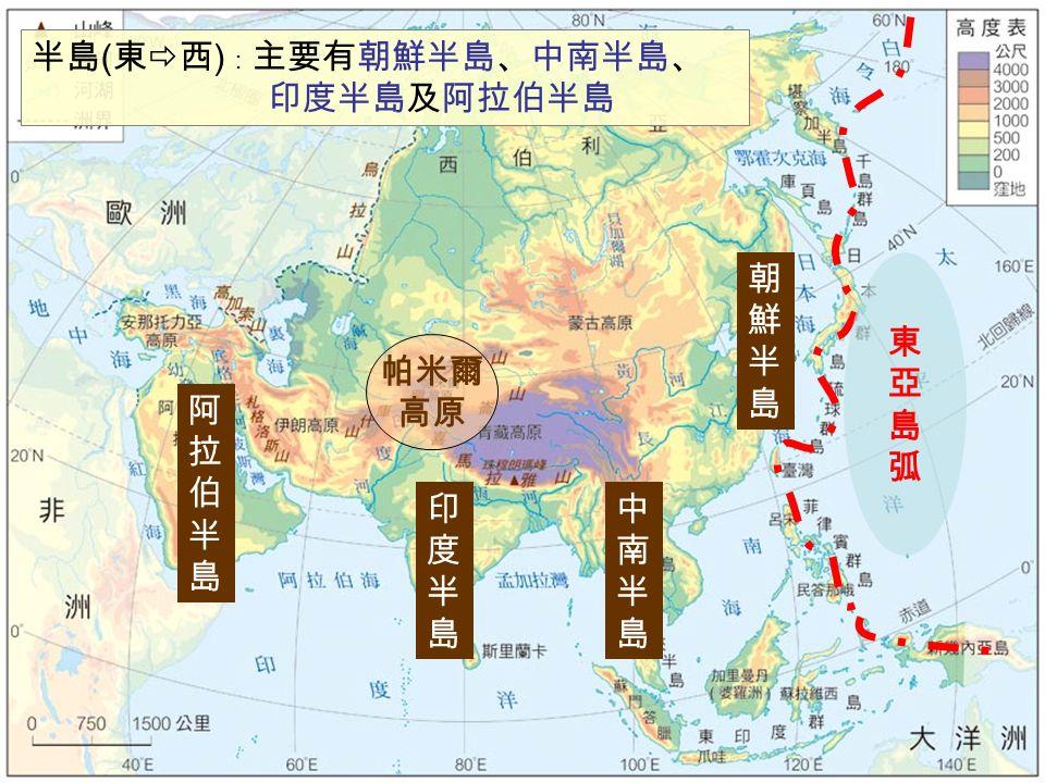 東亞島弧東亞島弧 帕米爾 高原 半島 ( 東  西 ) : 主要有朝鮮半島、中南半島、 印度半島及阿拉伯半島 朝鮮半島朝鮮半島 中南半島中南半島 印度半島印度半島 阿拉伯半島阿拉伯半島