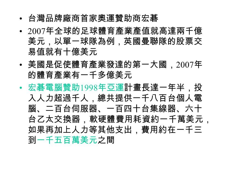 台灣品牌廠商首家奧運贊助商宏碁 2007 年全球的足球體育產業產值就高達兩千億 美元,以單一球隊為例,英國曼聯隊的股票交 易值就有十億美元 美國是促使體育產業發達的第一大國, 2007 年 的體育產業有一千多億美元 宏碁電腦贊助 1998 年亞運計畫長達一年半,投 入人力超過千人,總共提供一千八百台個人電 腦、二百台伺服器、一百四十台集線器、六十 台乙太交換器,軟硬體費用耗資約一千萬美元, 如果再加上人力等其他支出,費用約在一千三 到一千五百萬美元之間