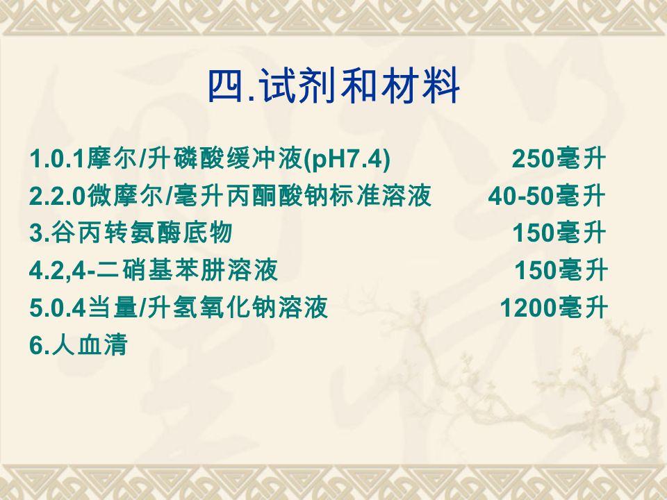 四. 试剂和材料 1.0.1 摩尔 / 升磷酸缓冲液 (pH7.4) 250 毫升 2.2.0 微摩尔 / 毫升丙酮酸钠标准溶液 40-50 毫升 3.