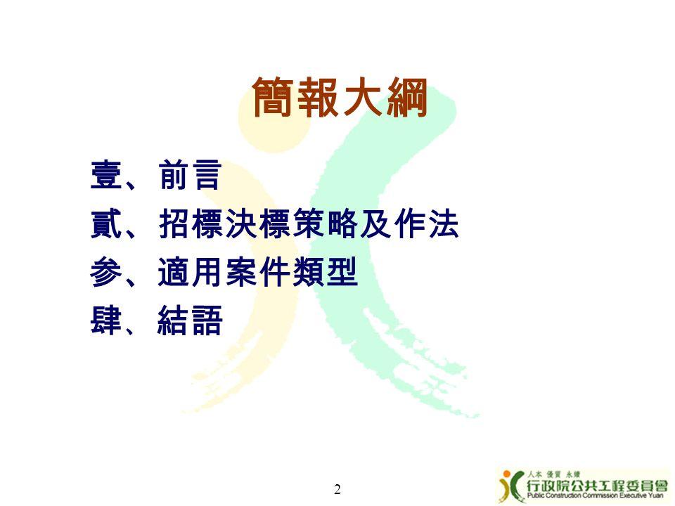簡報大綱 壹、前言 貳、招標決標策略及作法 参、適用案件類型 肆 、 結語 2