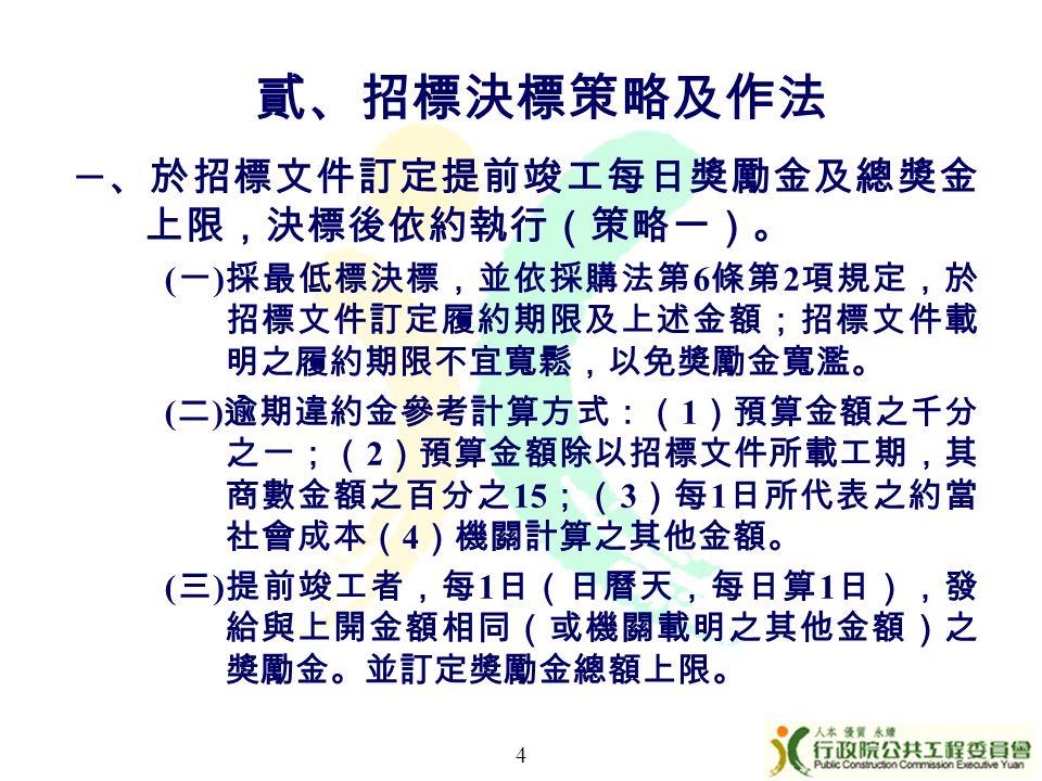 一 、於招標文件訂定提前竣工每日獎勵金及總獎金 上限,決標後依約執行(策略一)。 ( 一 ) 採最低標決標,並依採購法第 6 條第 2 項規定,於 招標文件訂定履約期限及上述金額;招標文件載 明之履約期限不宜寬鬆,以免獎勵金寬濫。 ( 二 ) 逾期違約金參考計算方式:( 1 )預算金額之千分 之一;( 2 )預算金額除以招標文件所載工期,其 商數金額之百分之 15 ;( 3 )每 1 日所代表之約當 社會成本( 4 )機關計算之其他金額。 ( 三 ) 提前竣工者,每 1 日(日曆天,每日算 1 日),發 給與上開金額相同(或機關載明之其他金額)之 獎勵金。並訂定獎勵金總額上限。 4 貳、招標決標策略及作法