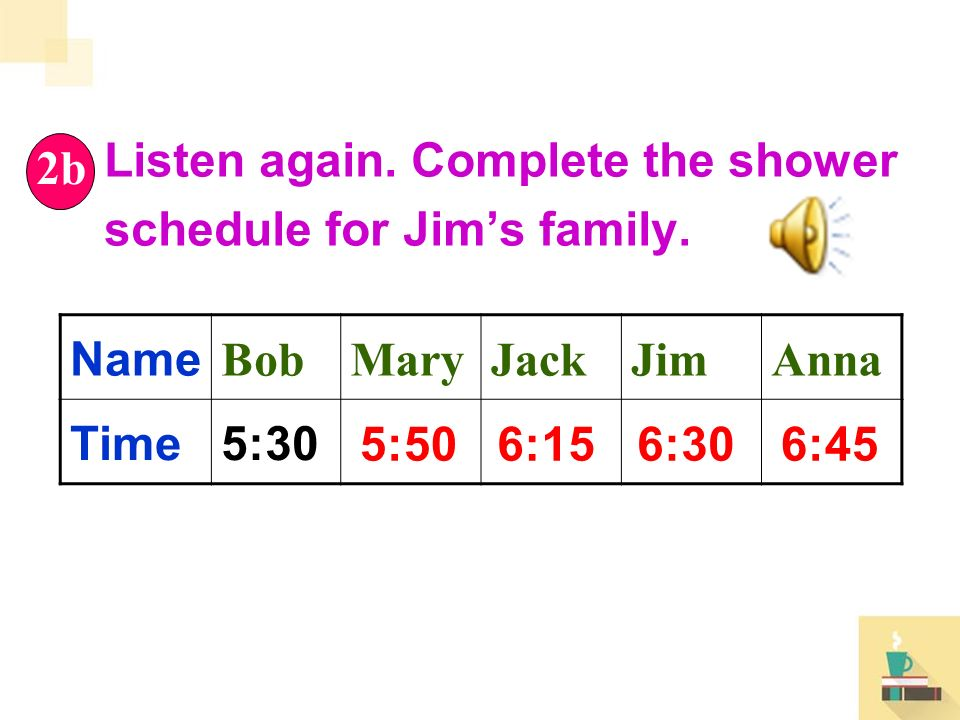 Listen again. Complete the shower schedule for Jim's family.