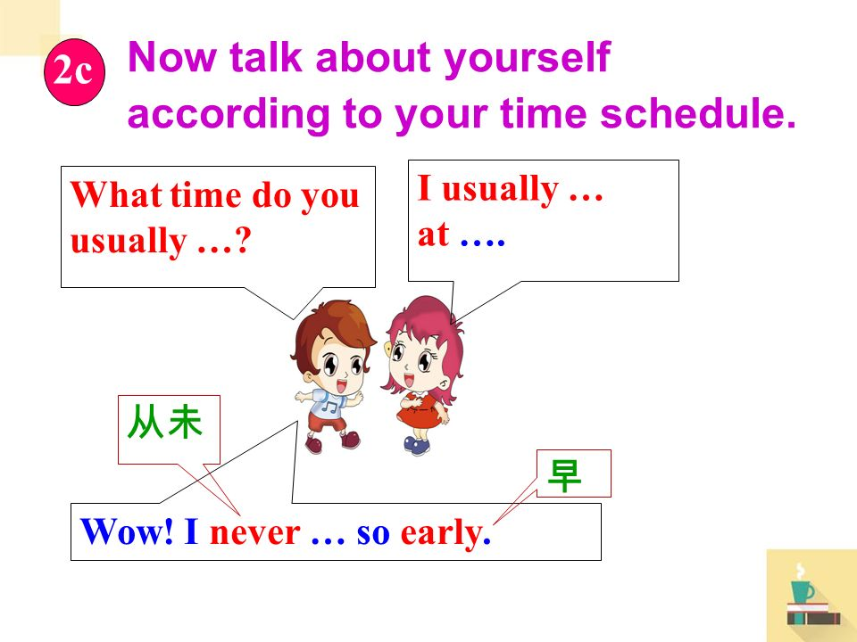 Now talk about yourself according to your time schedule.