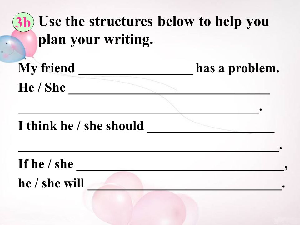 3b Use the structures below to help you plan your writing.