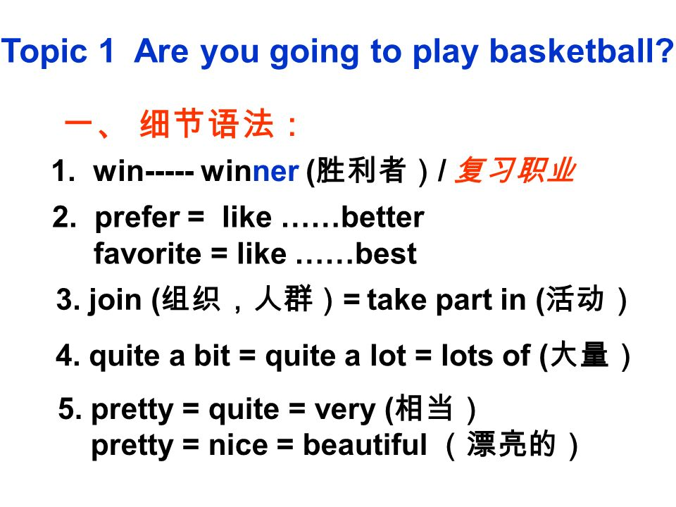 Topic 1 Are you going to play basketball. 一、 细节语法: 1.
