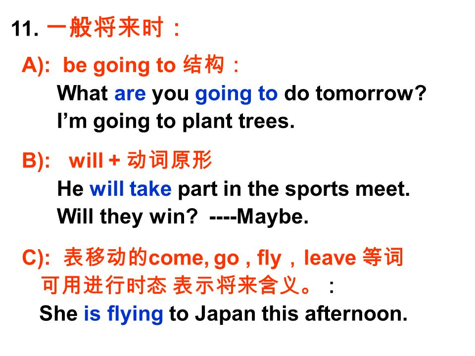 11. 一般将来时: A): be going to 结构: What are you going to do tomorrow.