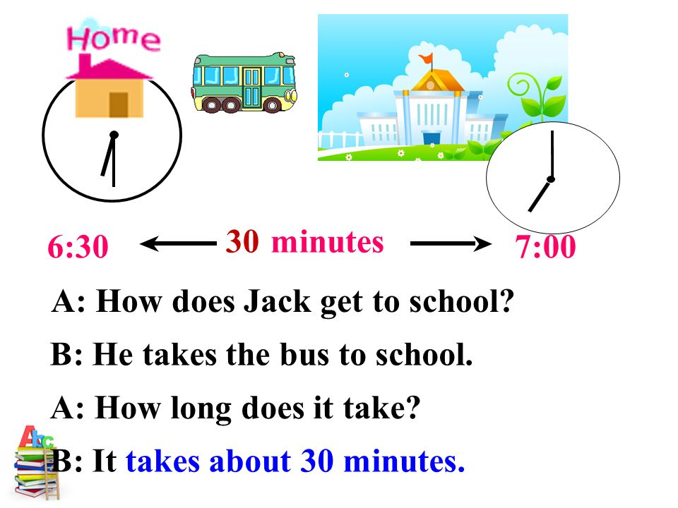 A: How does Jack get to school. B: He takes the bus to school.