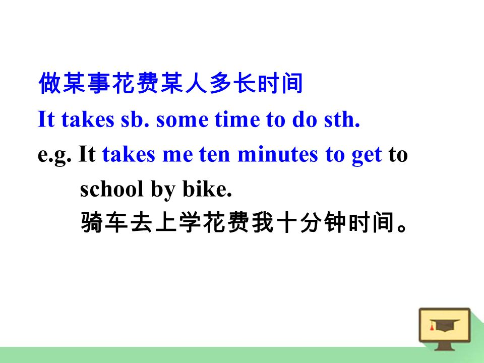 做某事花费某人多长时间 It takes sb. some time to do sth. e.g.