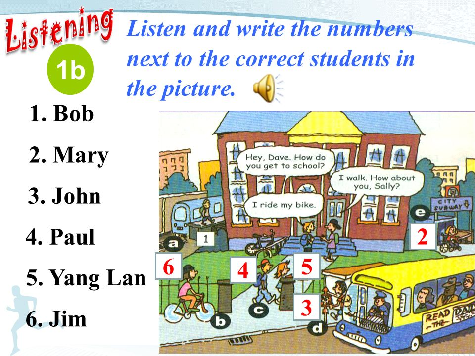 1b Listen and write the numbers next to the correct students in the picture.