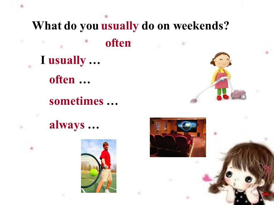 I usually … What do you do on weekends usually often often … sometimes … always …