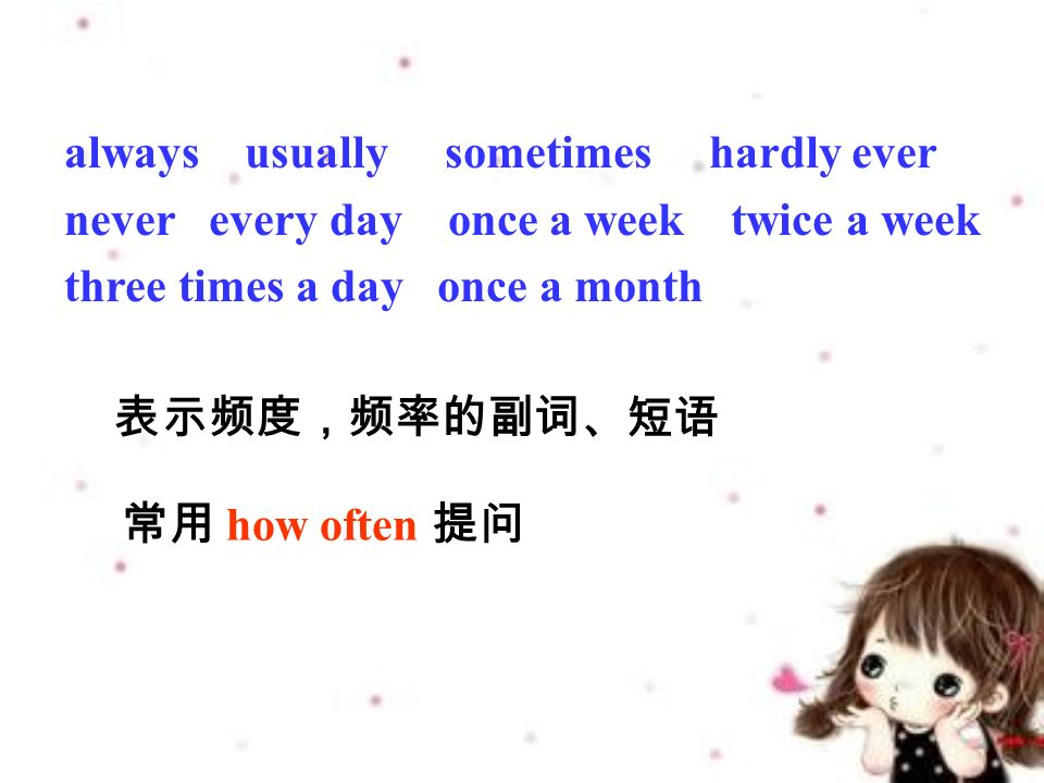 always usually sometimes hardly ever never every day once a week twice a week three times a day once a month 表示频度,频率的副词、短语 常用 how often 提问
