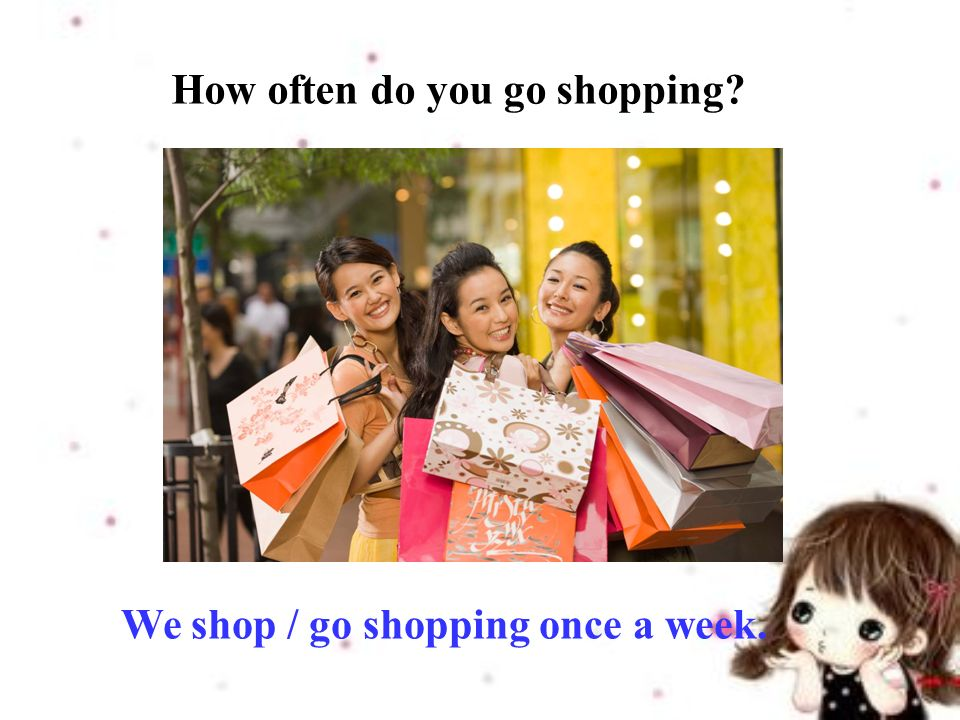 We shop / go shopping once a week. How often do you go shopping