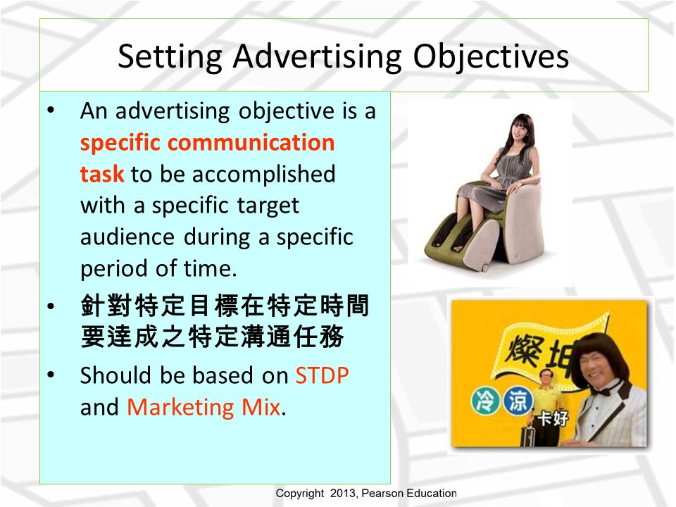 Setting Advertising Objectives An advertising objective is a specific communication task to be accomplished with a specific target audience during a specific period of time.