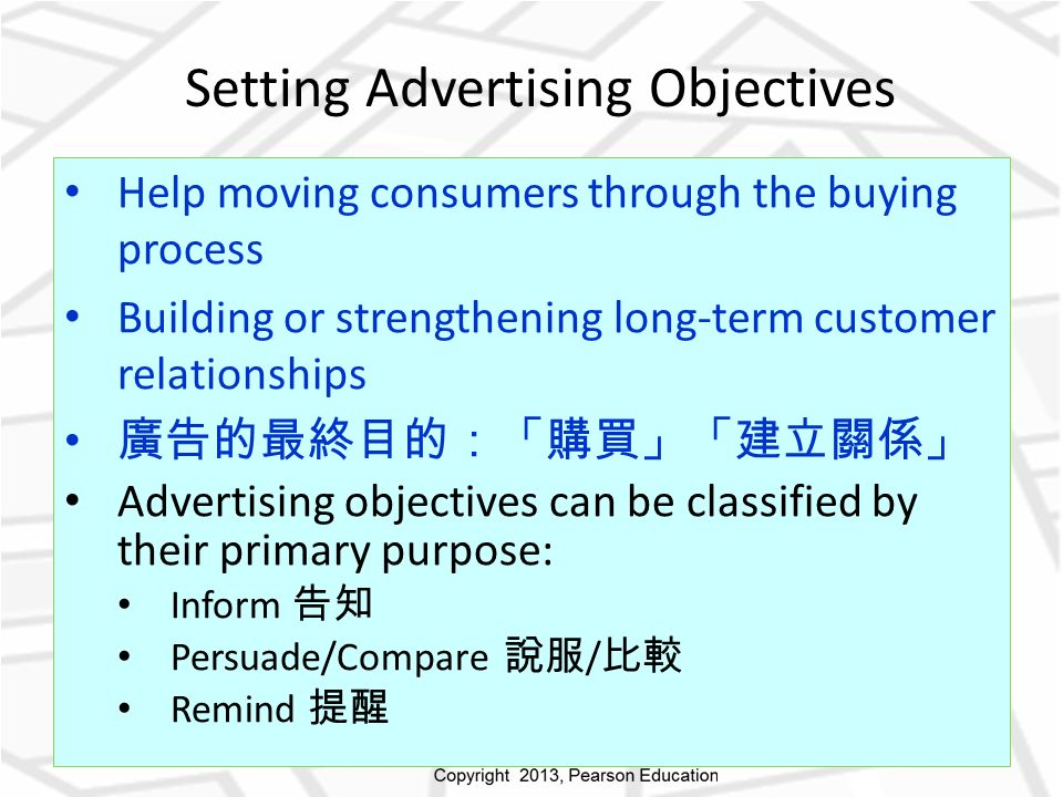 Setting Advertising Objectives Help moving consumers through the buying process Building or strengthening long-term customer relationships 廣告的最終目的:「購買」「建立關係」 Advertising objectives can be classified by their primary purpose: Inform 告知 Persuade/Compare 說服 / 比較 Remind 提醒