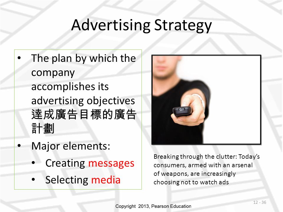 Advertising Strategy The plan by which the company accomplishes its advertising objectives 逹成廣告目標的廣告 計劃 Major elements: Creating messages Selecting media Breaking through the clutter: Today's consumers, armed with an arsenal of weapons, are increasingly choosing not to watch ads